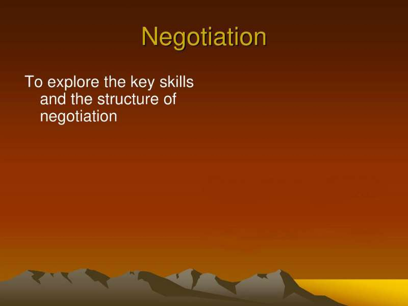 The Preparation & Structure of Negotiation