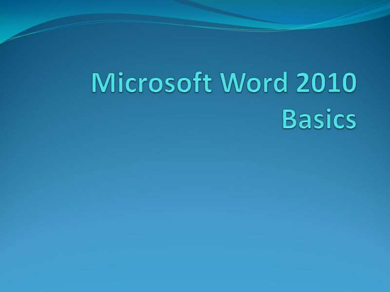 Word 2010 Beginner